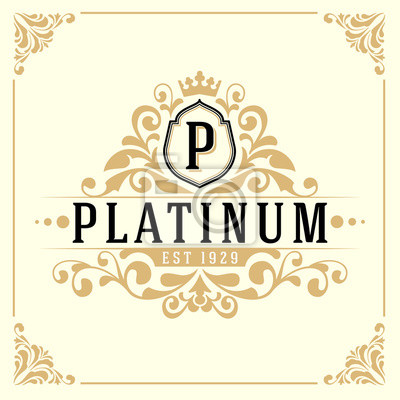 Vintage luxus monogramm logo vorlage für banner, label, frame ...