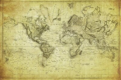 Fototapete vintage map of the world 1831