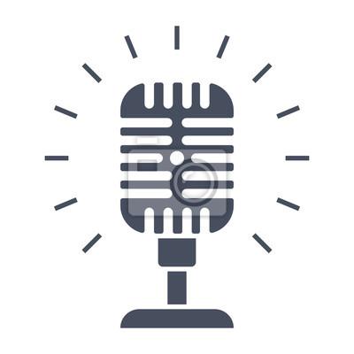 Vintage mikrofon-symbol, schwarz vektor silhouette auf weißem ...