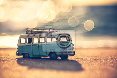 Fototapete Vintage miniature van in vintage color tone, travel concept