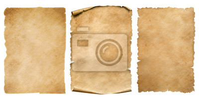 Fototapete Vintage paper or parchment sheets set isolated on white