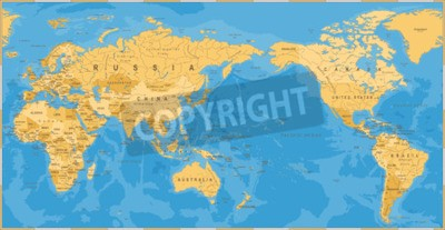 Fototapete Vintage political world map Pacific centered - vector.