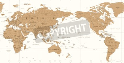 Fototapete Vintage political world map pacific centered vector icon.