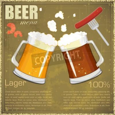 Fototapete Vintage postcard, cover menu - Beer, beer snack - Retro style