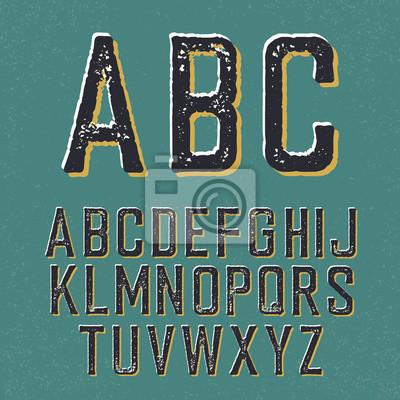 Vintage retro Schriftbild. Stamped Alphabet, mit Schatten