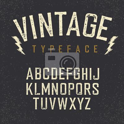 Vintage retro Schriftbild. Stamped Alphabet, weißer zerkratzter Brief