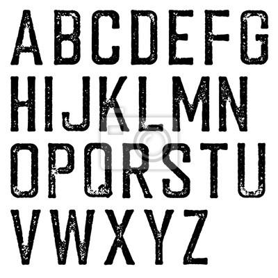 Vintage retro Schriftbild. Stamped Alphabet, zerkratzt. Isoliert auf weißem Hintergrund