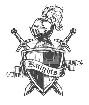 Fototapete Vintage Ritter-Emblem mit Ritterhelm, gekreuzten Schwertern, Schild und Band