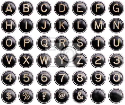 Vintage Schreibmaschine Schlüssel mit Glanz isoliert