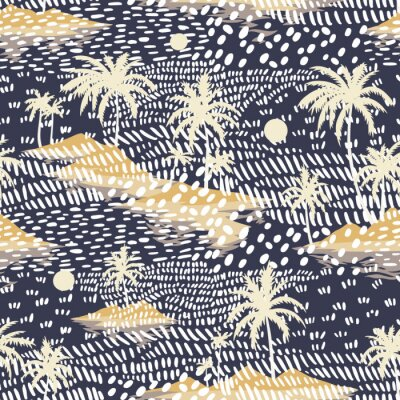 Fototapete Vintage seamless island pattern. Colorful summer tropical background. Yellow landscape with palm trees, beach and ocean. Flat design, vector. Good for textile, fabric, t-shirt, wallpaper, wrapping.