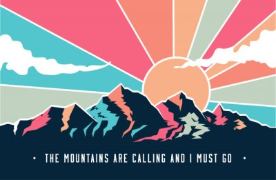 Fototapete Vintage styled mountains landscape with mountains peaks and retro colored sky with clouds. Vector illustration