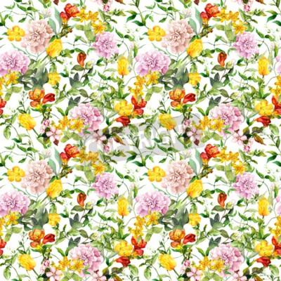 Fototapete Vintage summer flowers, leaves, herbs. Repeating floral background. Watercolor