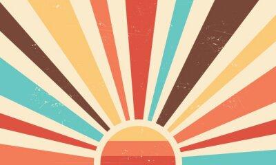 Fototapete Vintage sun retro banner background. Colourful grunge sunburst. Vector illustration.