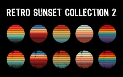 Fototapete Vintage sunset collection in 70s 80s style. Regular and distressed retro sunset set. Five options with textured versions. Circular gradient background. T shirt design element. Vector illustration,flat