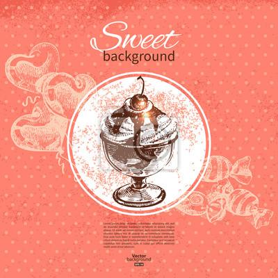 Vintage Süße Hintergrund Hand Gezeichnete Illustration Menü