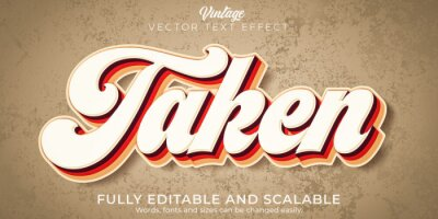 Fototapete Vintage text effect, editable retro and old text style