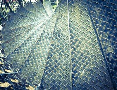 Fototapete Vintage tone spiral iron staircase background