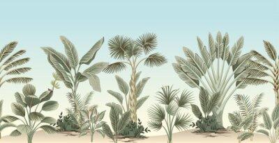Fototapete Vintage tropical palm tree, banana tree, plant floral border blue background. Exotic jungle wallpaper.