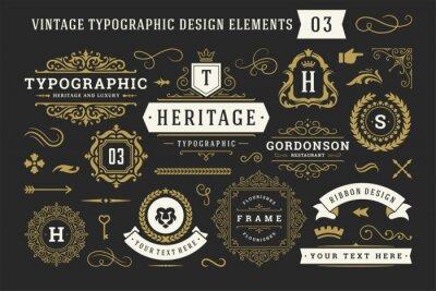 Fototapete Vintage typographic decorative ornament design elements set vector illustration