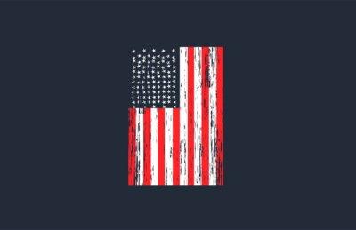 Fototapete Vintage USA Flag with Grunge Style Vector Design