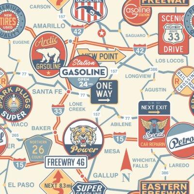 Fototapete Vintage vector Straßenkarte mit Schildern - nahtlose Muster