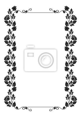 Fototapete Vintage Vertikale Floralen Rahmen Mit Rosen Silhouette. Schwarz  Weiß Vektor Design