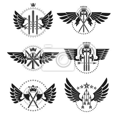 Fototapete Vintage Weapon Emblems set. Heraldic Coat of Arms decorative emblems isolated vector illustrations collection.