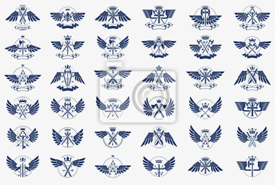 Fototapete Vintage weapon vector logos or emblems, heraldic design elements big set, classic style heraldry military war armory symbols, antique knives compositions.