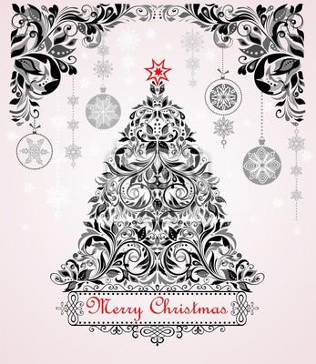 Weihnachten Schwarz Weiß Bilder.Fototapete Vintage Weihnachten Schwarz Weiß Grußkarte Mit Weihnachtsbaum