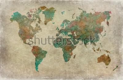 Fototapete Vintage Welt Kartenhintergrund