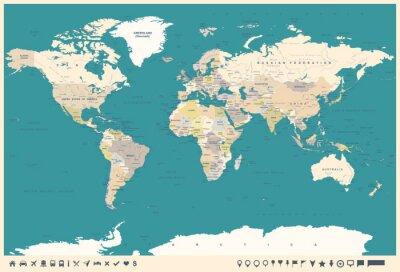 Fototapete Vintage Weltkarte und Marker - Illustration
