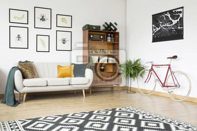 Fototapete Vintage Wohnzimmer Mit Fahrrad