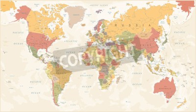 Fototapete Vintage World Map - Detailed Vector Illustration