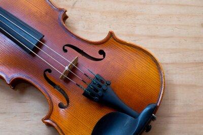 Fototapete Violine auf Holztisch