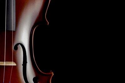 Fototapete Violine Partial View auf schwarzem Hintergrund