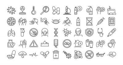 Fototapete virus covid 19 pandemic respiratory pneumonia disease icons set line style icon