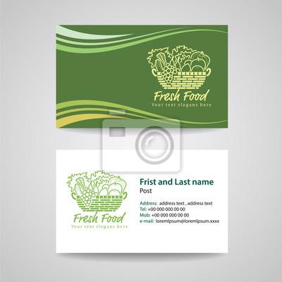 Visitenkarte Grüner Hintergrund Vorlage Für Frisches Essen