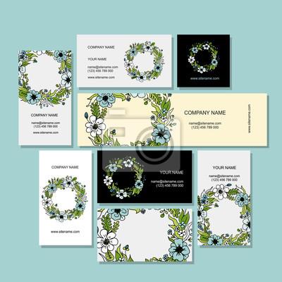 Visitenkarten Design Blumen Kranz Fototapete Fototapeten