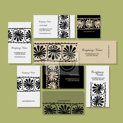 Visitenkarten Design Ethnische Blumen Ornament Fototapete