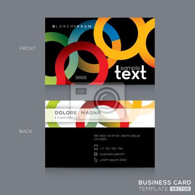 Visitenkarten Design Mit Abstrakten Bunten Kreis Ring Form