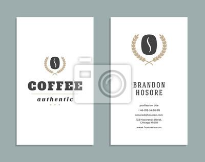 Visitenkarten Design Und Retro Stil Vorlage Kaffee Shop Logo
