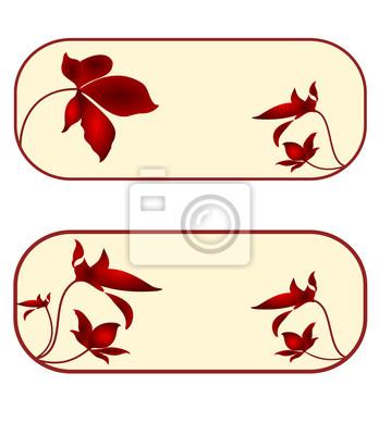 Visitenkarten-Label-Taste Banner Blumen Rechteck Satz zehnten