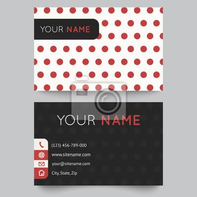 Visitenkarten Vorlage Rot Und Weiß Muster Vektor Design