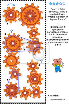 Visuelle mechanik oder mathe puzzle mit rotierenden zahnrädern ...