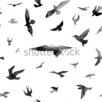 Fototapete Vögel. Aquarell nahtlose Muster. Raster-Darstellung.