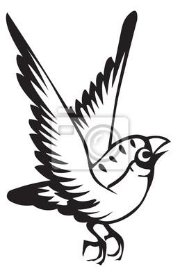 Vogel Auf Dem Weißen Hintergrund Zum Ausmalen Fototapete