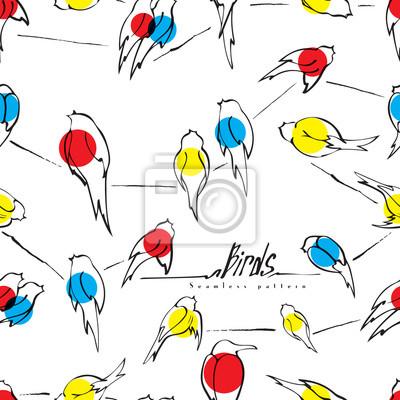 Vögel auf draht nahtlose muster vektor, verschiedene vögel ...