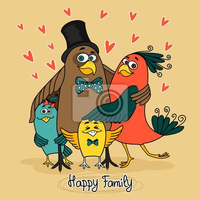 Vögel glückliche Familie