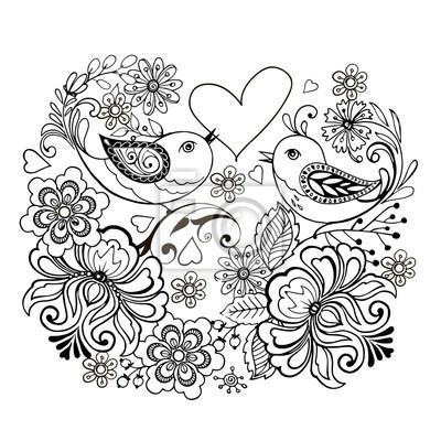 Vogel Mit Blumen Und Herzen Fur Anti Stresa Farbung Fototapete