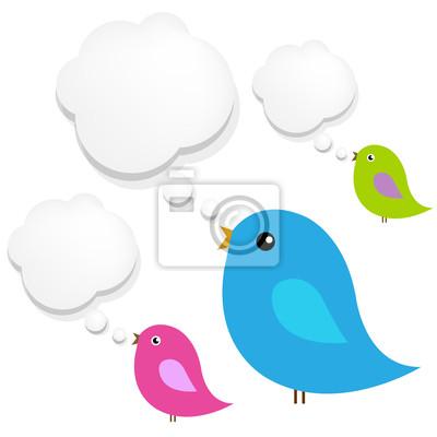 Vögel mit Wolke Sprechblase